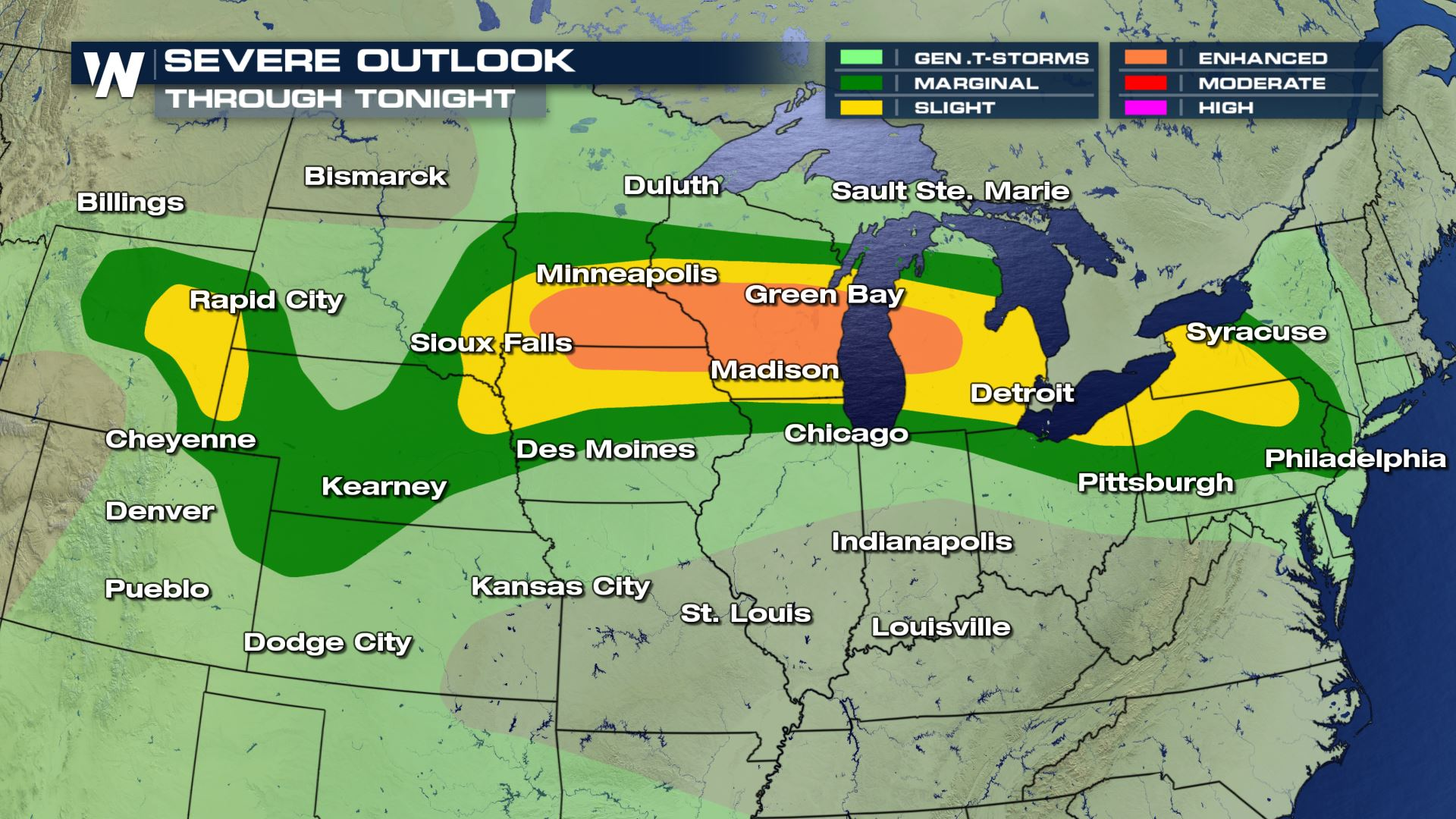 Severe Storm Threat Continues Across Plains and Midwest Tuesday