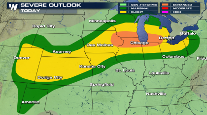 Cold Front Brings Severe Weather Threat to the Plains and Great Lakes