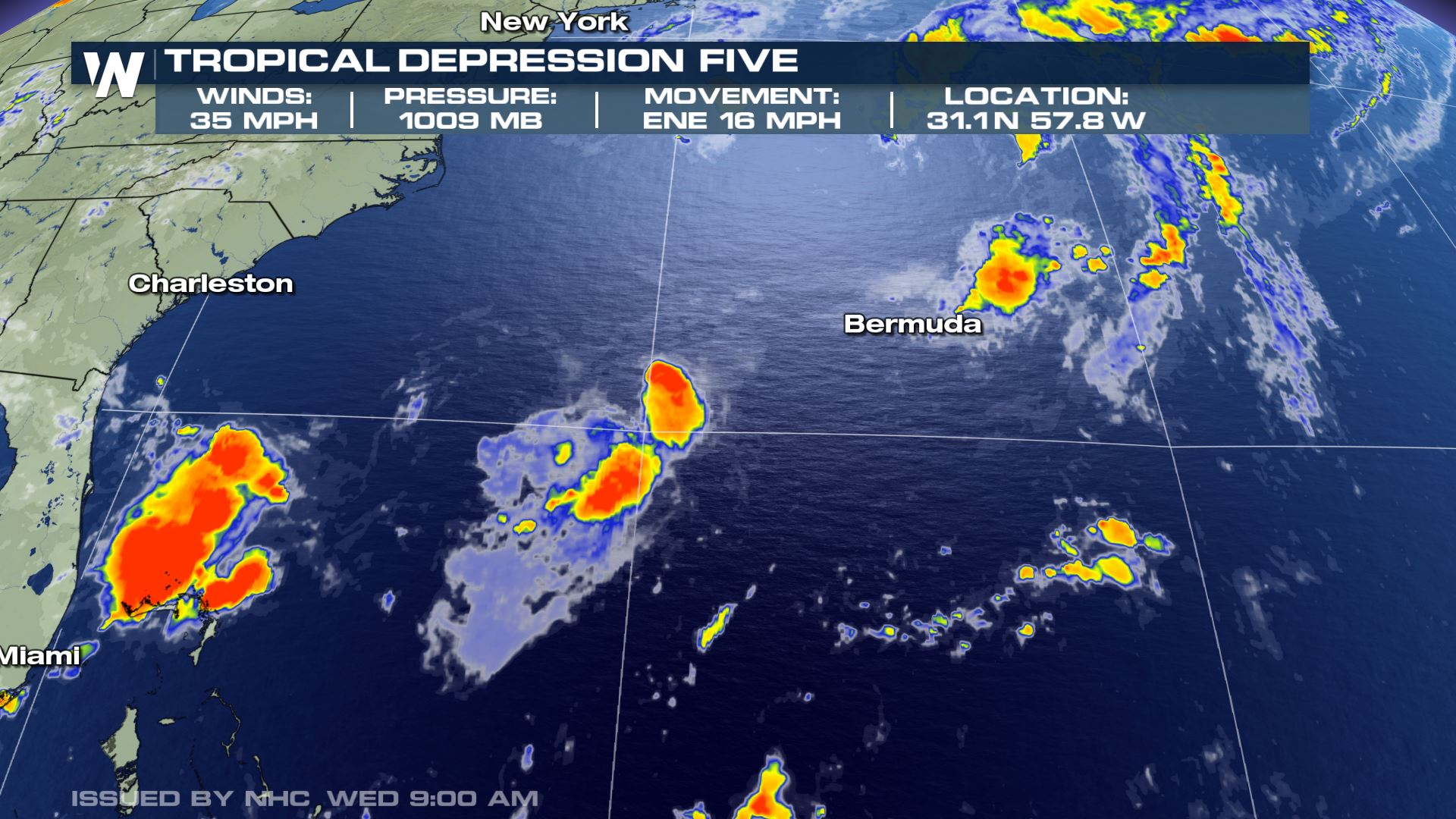 Tropical Depression Five Forms West of Bermuda