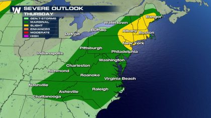Severe Storm Potential in the Northeast & Mid-Atlantic
