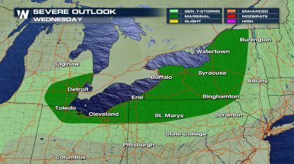 Storms near the Great Lakes moving east
