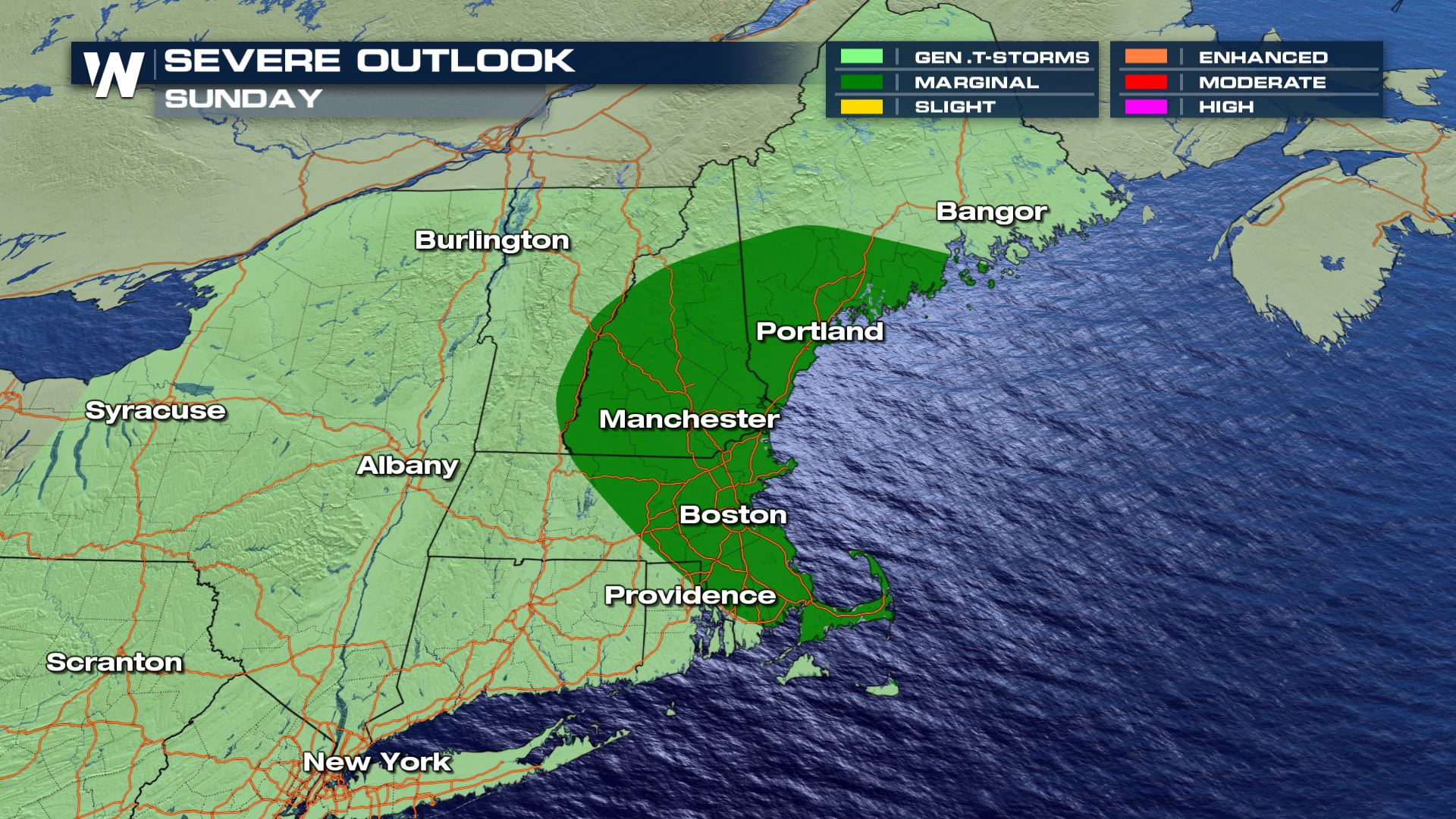 Sunday Severe Risk for Northeast