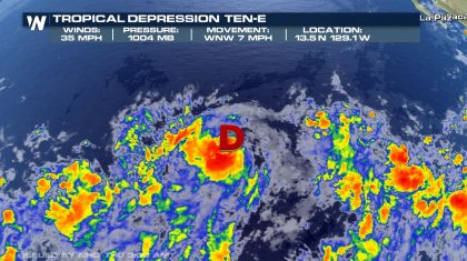 Tropical Depression Ten-E Forms in the East Pacific