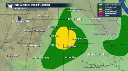 Severe Storm Risk in the Central Plains and Southwest