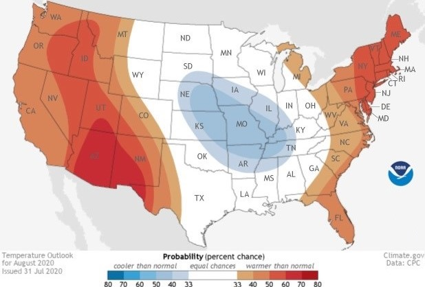 Updated August Outlook: Wet & Warm East, Hot & Dry West