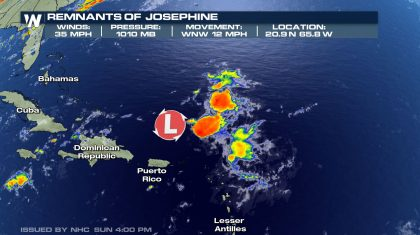 Josephine Now Just a Trough of Low Pressure