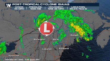 Isaias is no Longer a Tropical System, Moving Into Canada