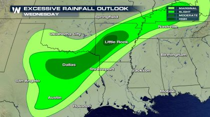 Flash Flood Concern Covers Southern U.S.