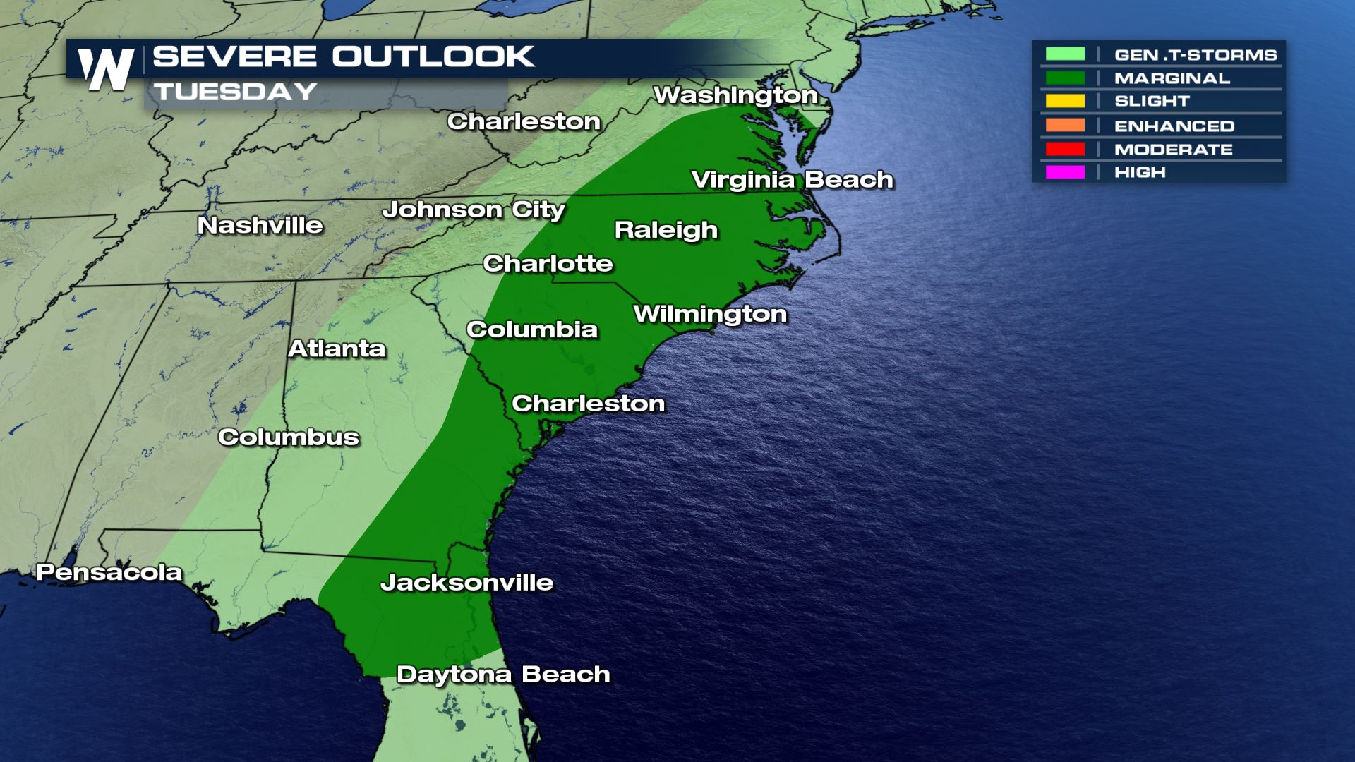 Tuesday Severe Weather Threat Moves East