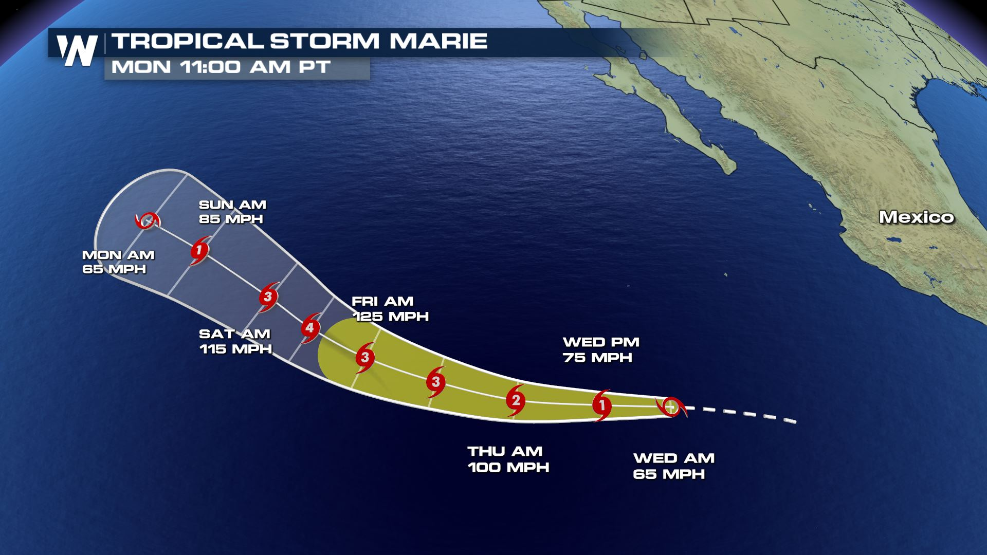Tropical Storm Marie Strengthens in the Pacific