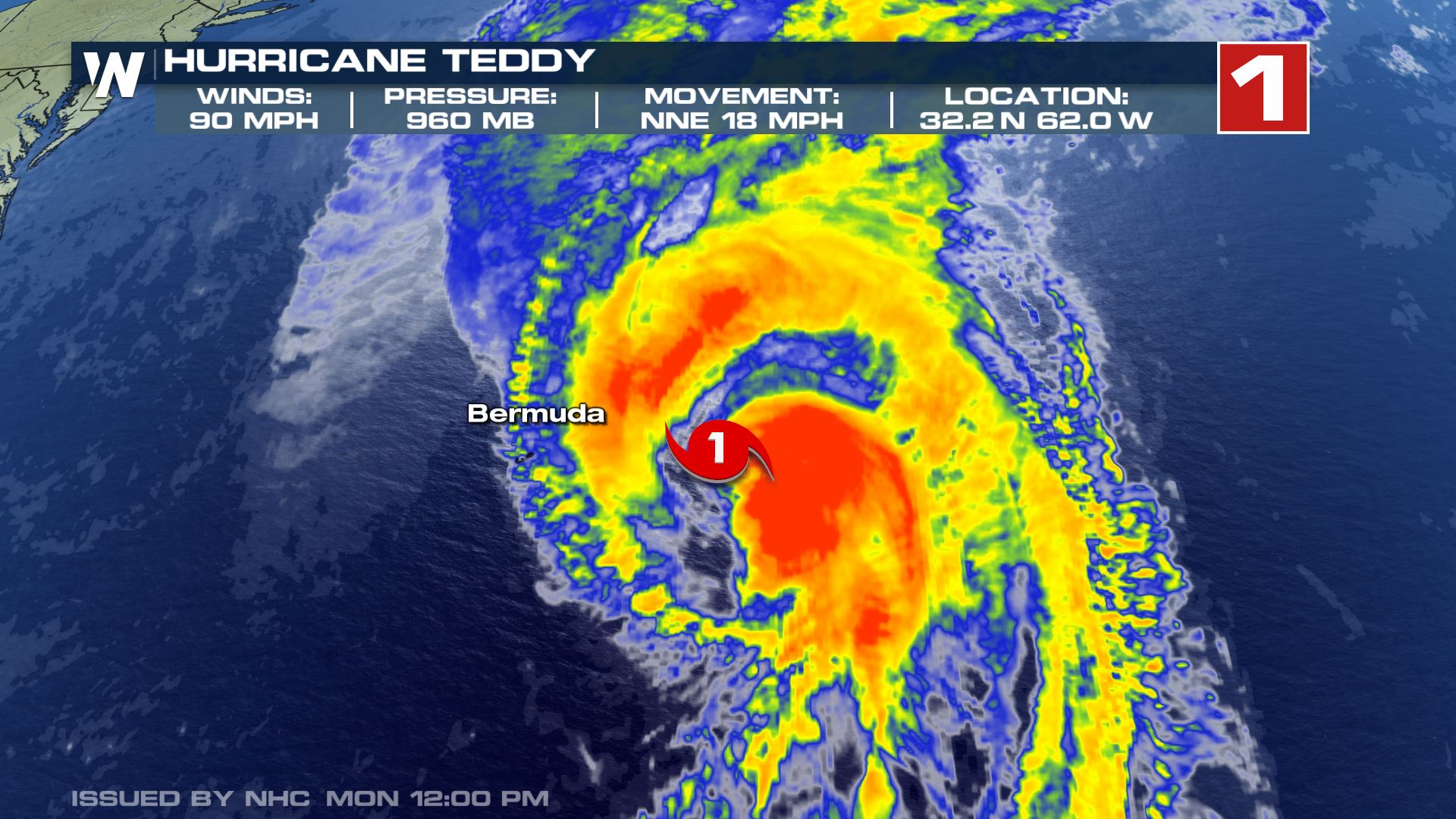 Teddy Tracking East of Bermuda