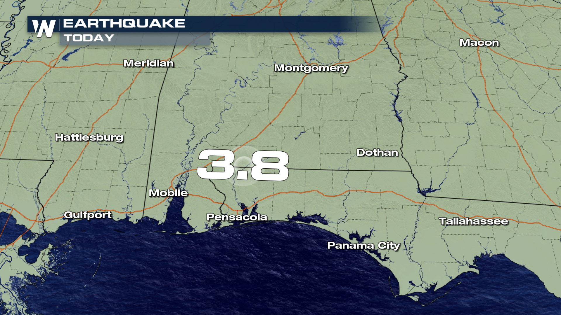 3.8 magnitude earthquake happened in Alabama Thursday morning