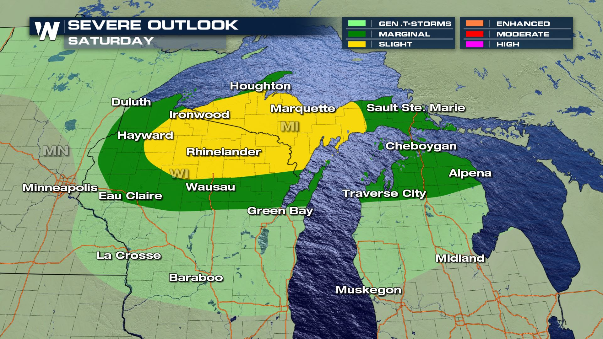 Another round of severe storms Saturday for the Great Lakes
