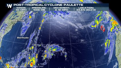 Paulette Now a Post-Tropical Cyclone Over the Eastern Atlantic
