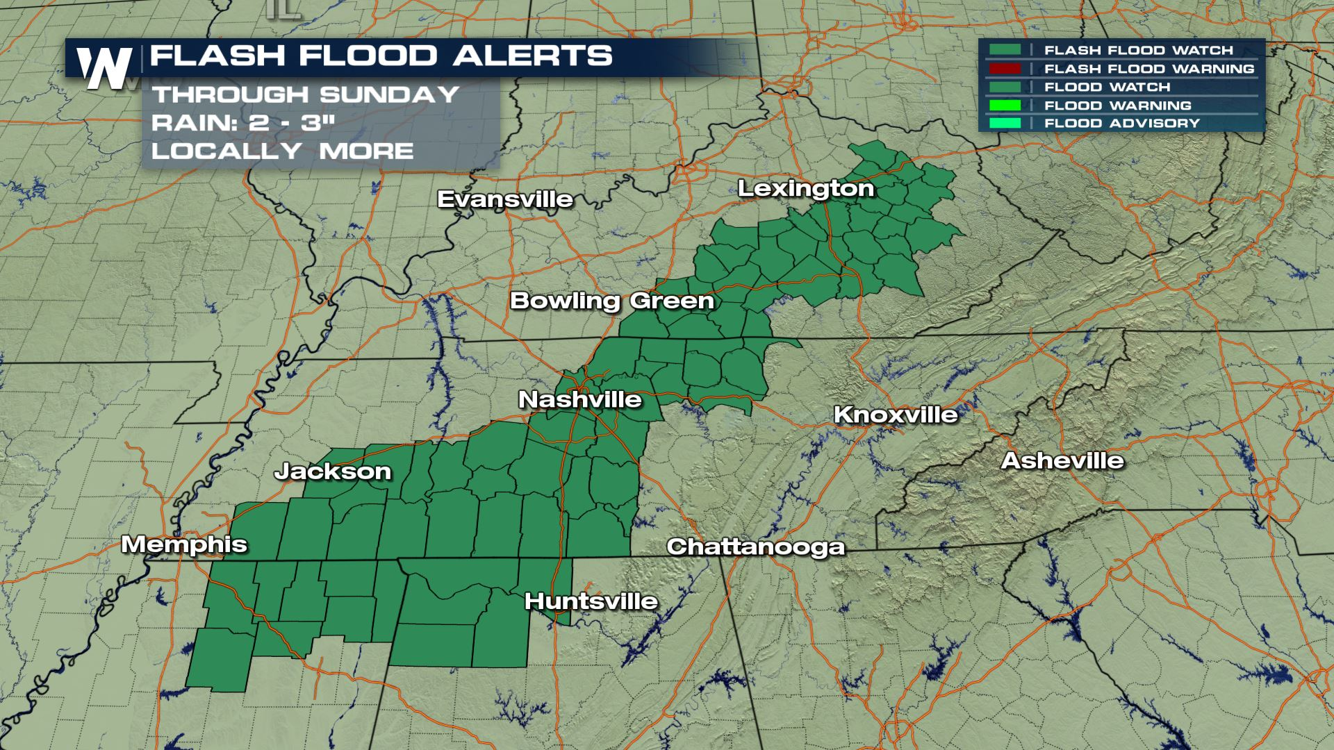 Flooding likely across parts of the Tennessee River Valley Sunday