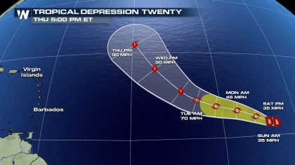 Tropical Depression 20 Forms in the Atlantic