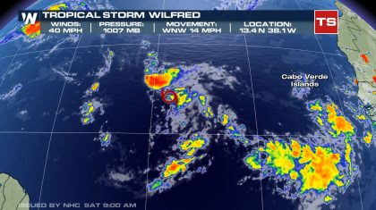 Tropical Storm Wilfred hanging on in the Atlantic