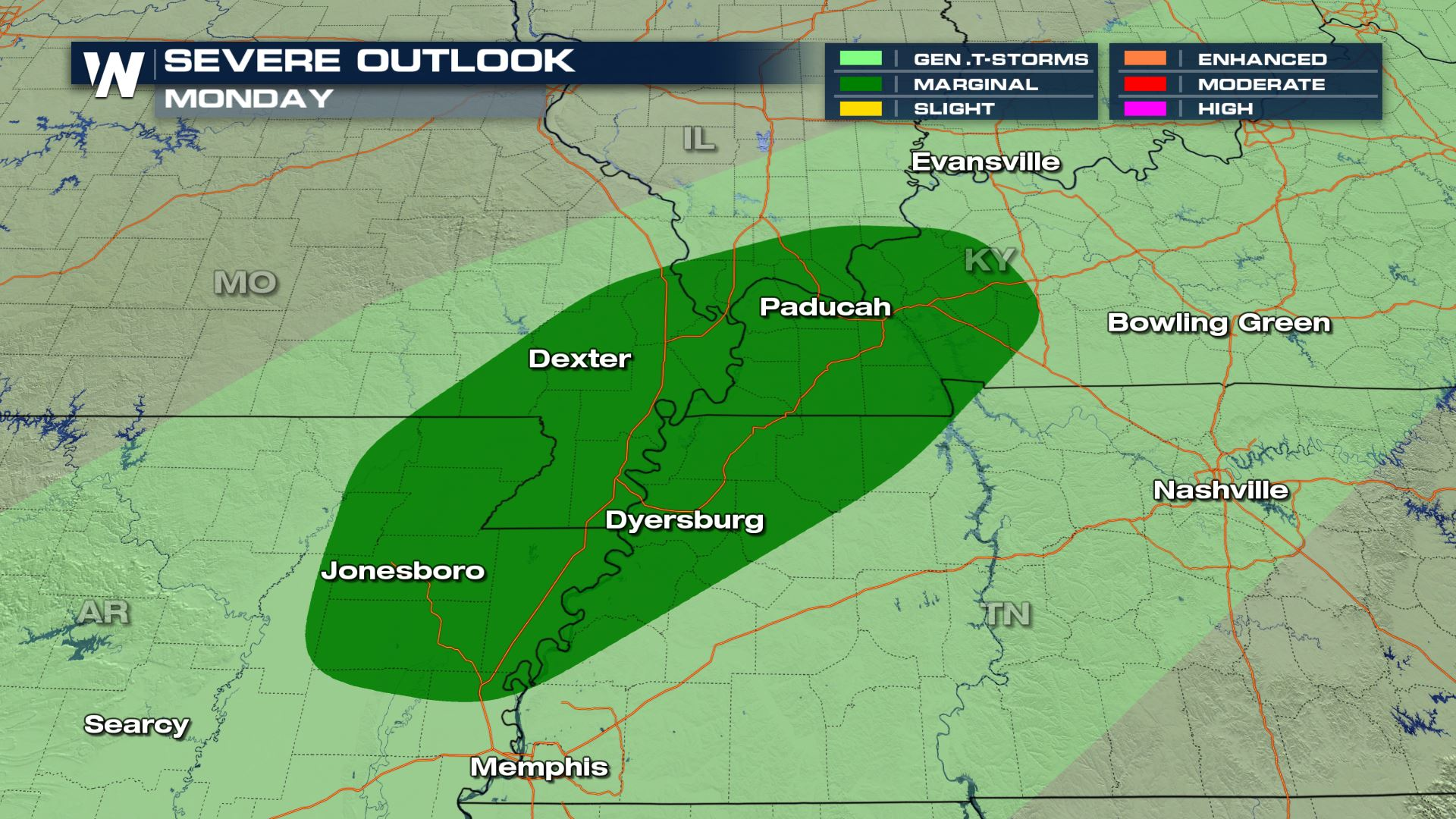 Isolated Severe Storms for the Lower Mississippi Valley On Monday