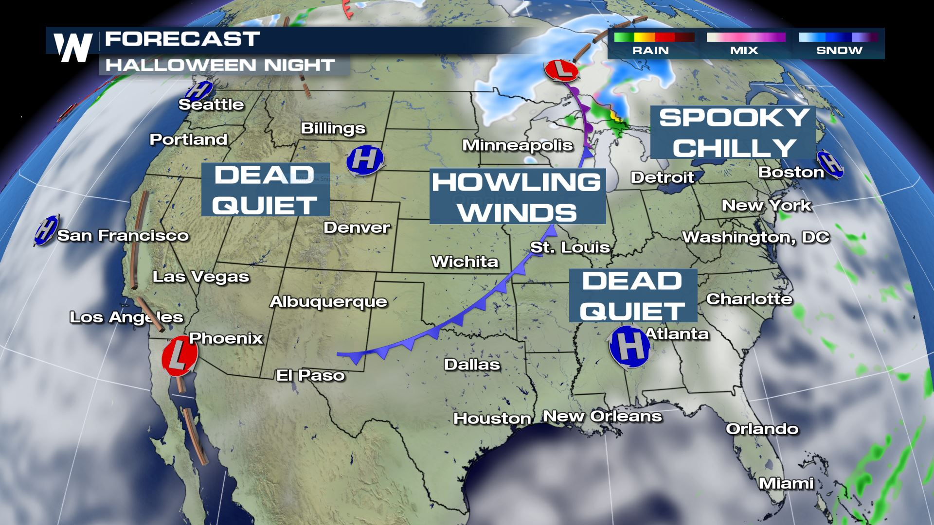 Halloween forecast mostly quiet across the US