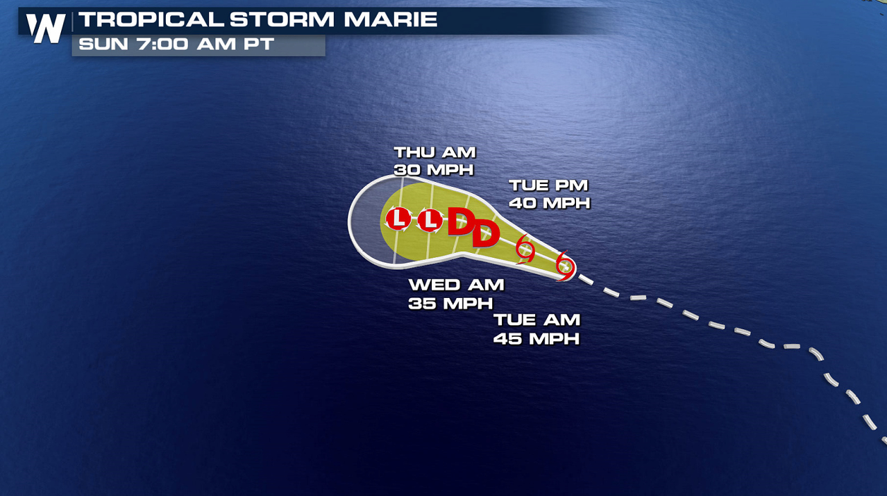 Tropical Storm Marie Weakens in the Pacific