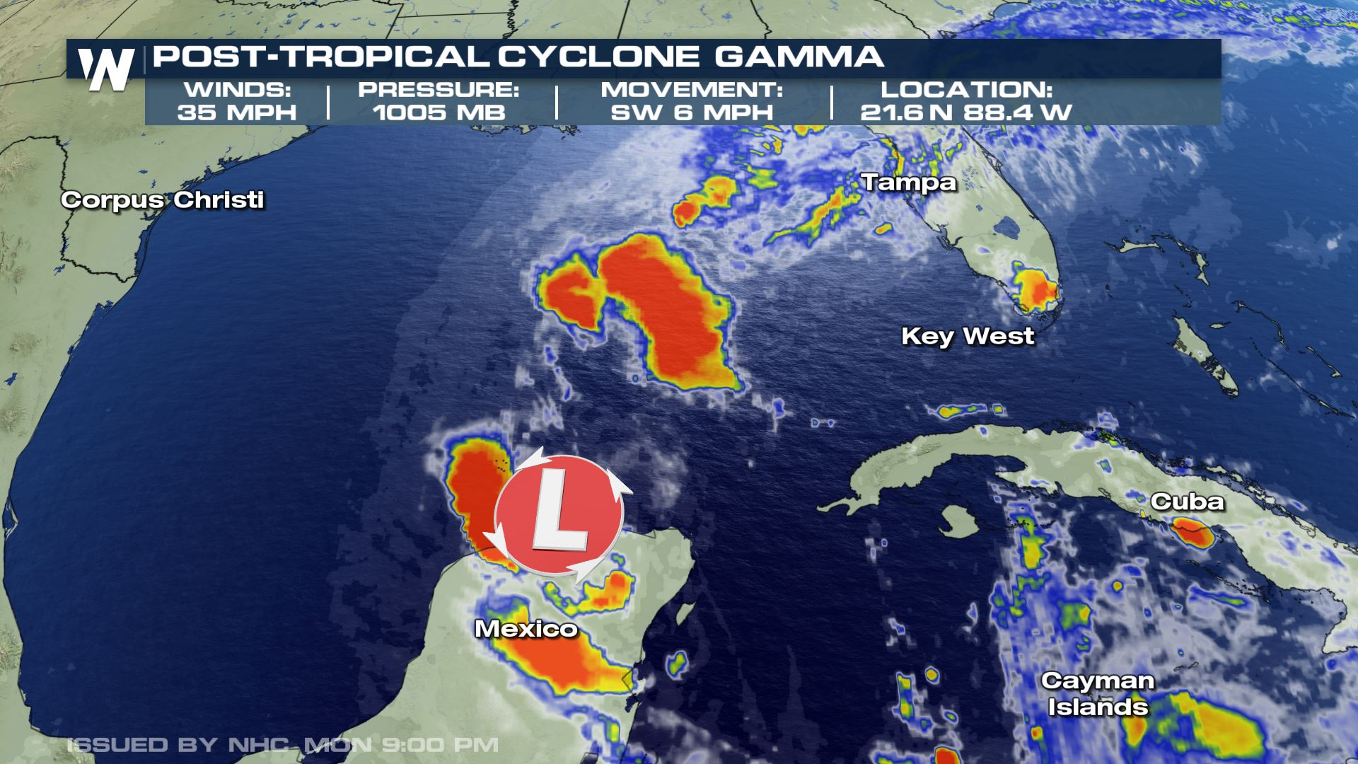 Gamma Weakens to a Post-Tropical Cyclone