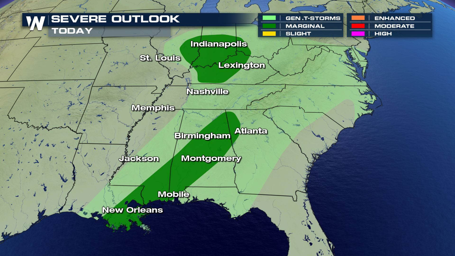 Severe Storms Possible in the South Wednesday to Friday