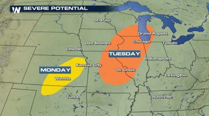 Severe Storms Possible in the Plains to Start the Week