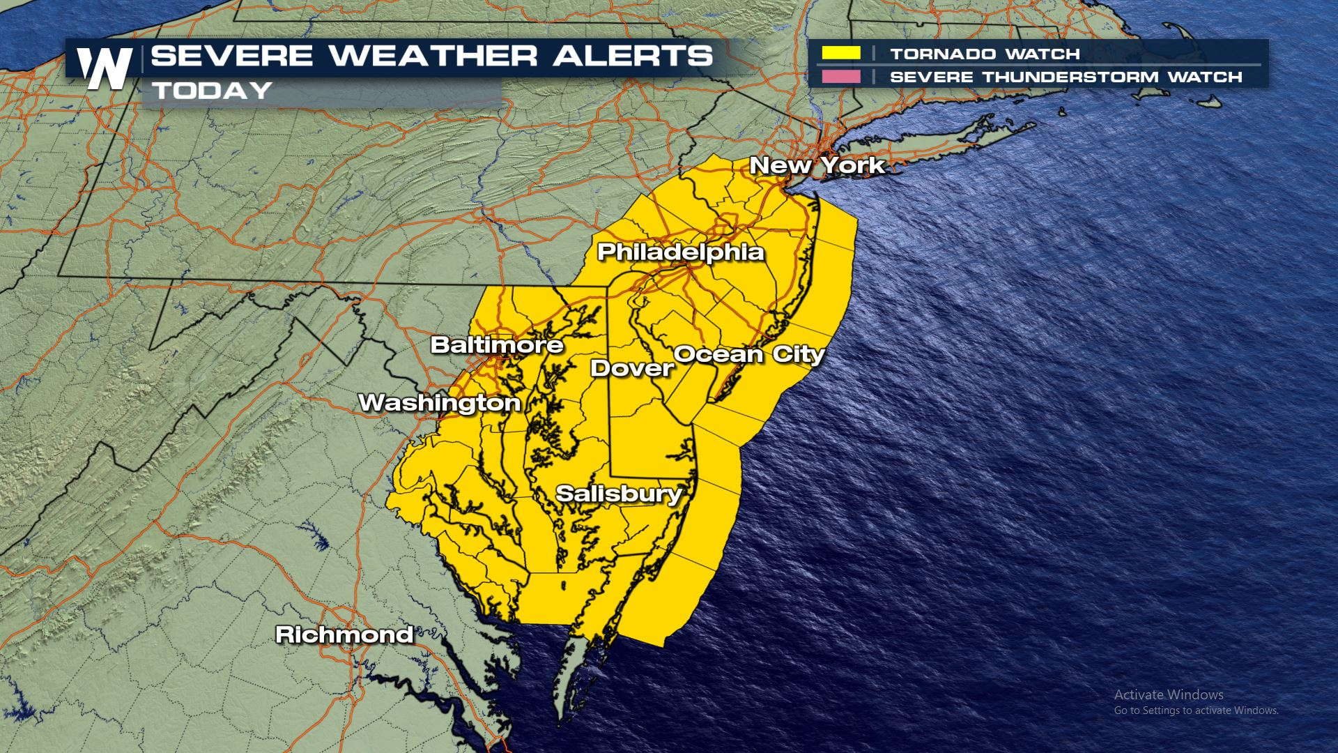 Severe Weather Likely for the Southeast and East Coast Monday