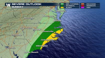 Severe Chances for Eastern North Carolina Sunday