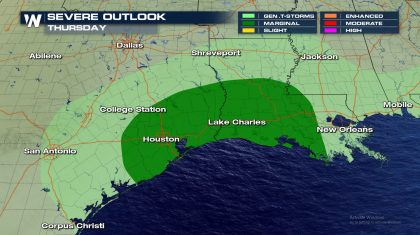 Severe Storms for Thanksgiving in Texas and Louisiana