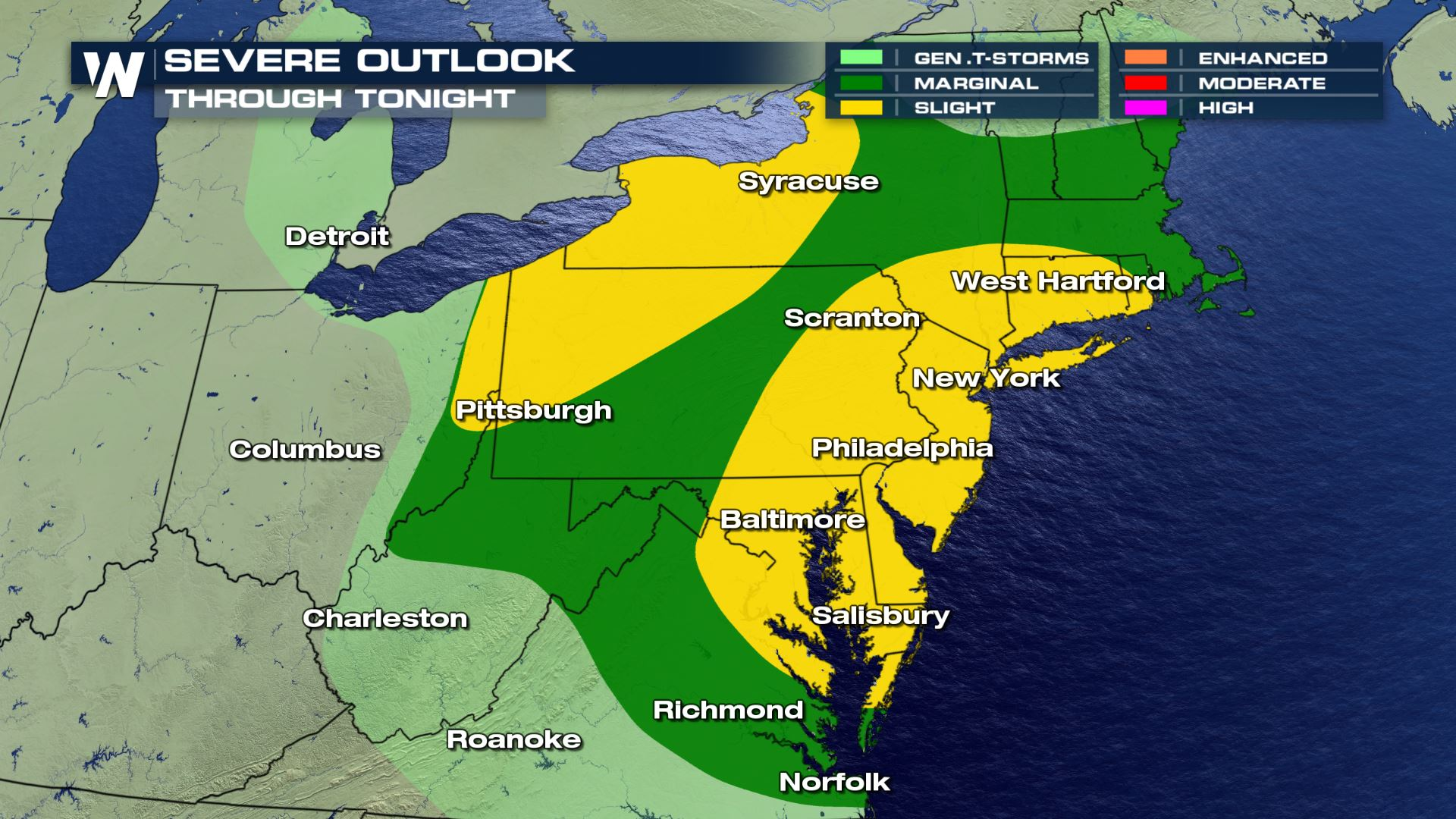 Severe Storms Possible Mid-Atlantic to Northeast Tonight
