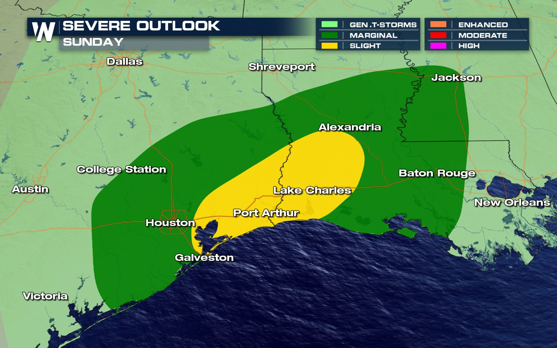 Heavy Rain and Severe Storms From Texas to Mississippi Sunday