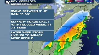 Snow Chances Monday from the Central Appalachians to the Northeast