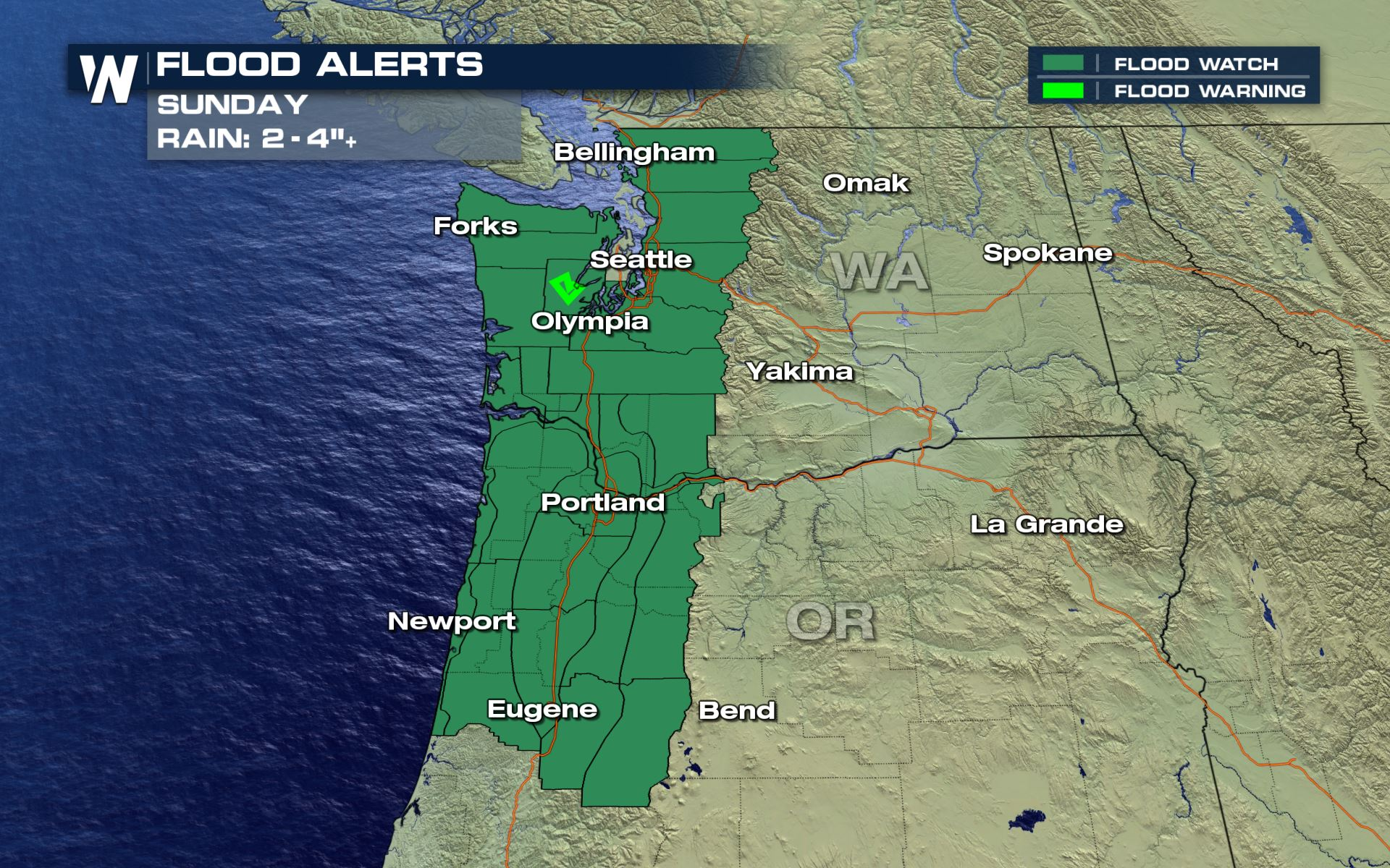 Heavy Rain Sunday for the Pacific Northwest