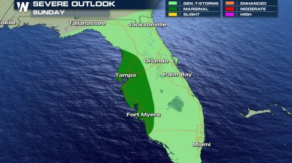 Severe Chances in Florida, Sunday
