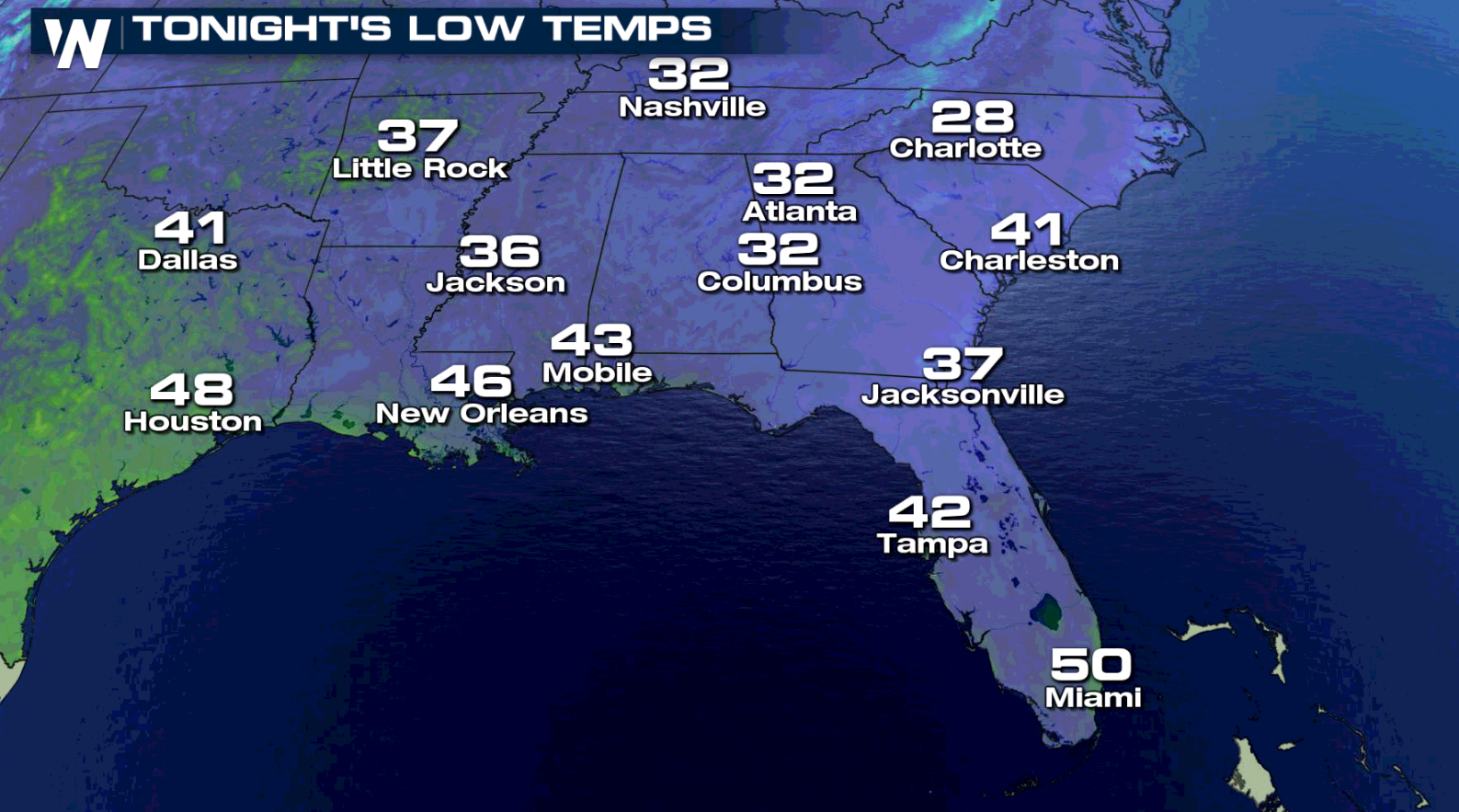 Cold Temperatures Sweep into the Southeast
