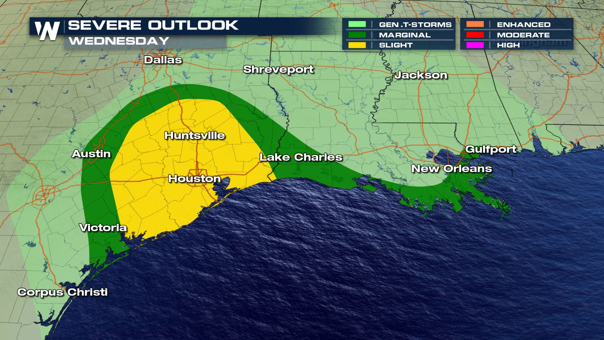 Severe Storms Likely Today for the Texas Gulf Coast