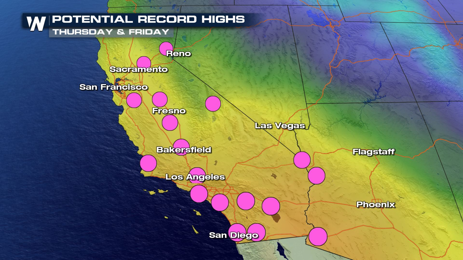 Southwest Potential Record Warmth and Fire Weather Concern