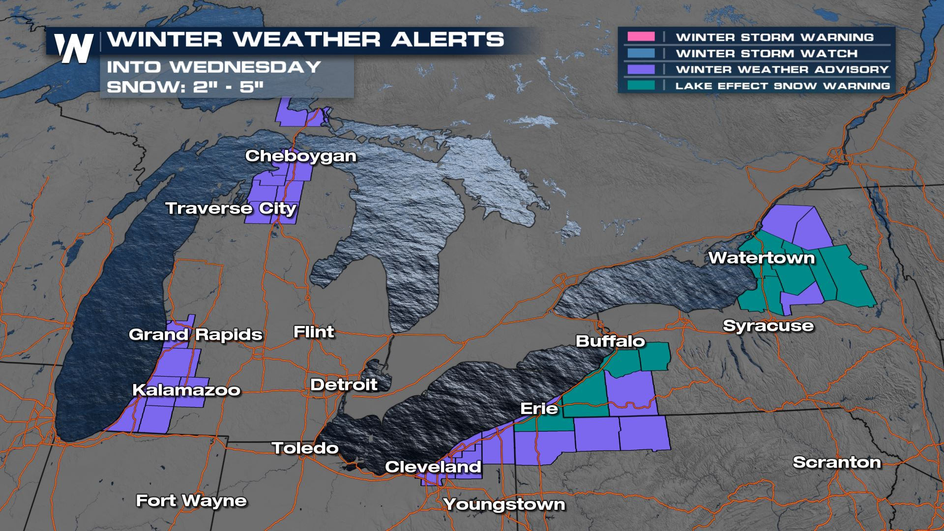 Lake Effect Snow Continues Across The Great Lakes