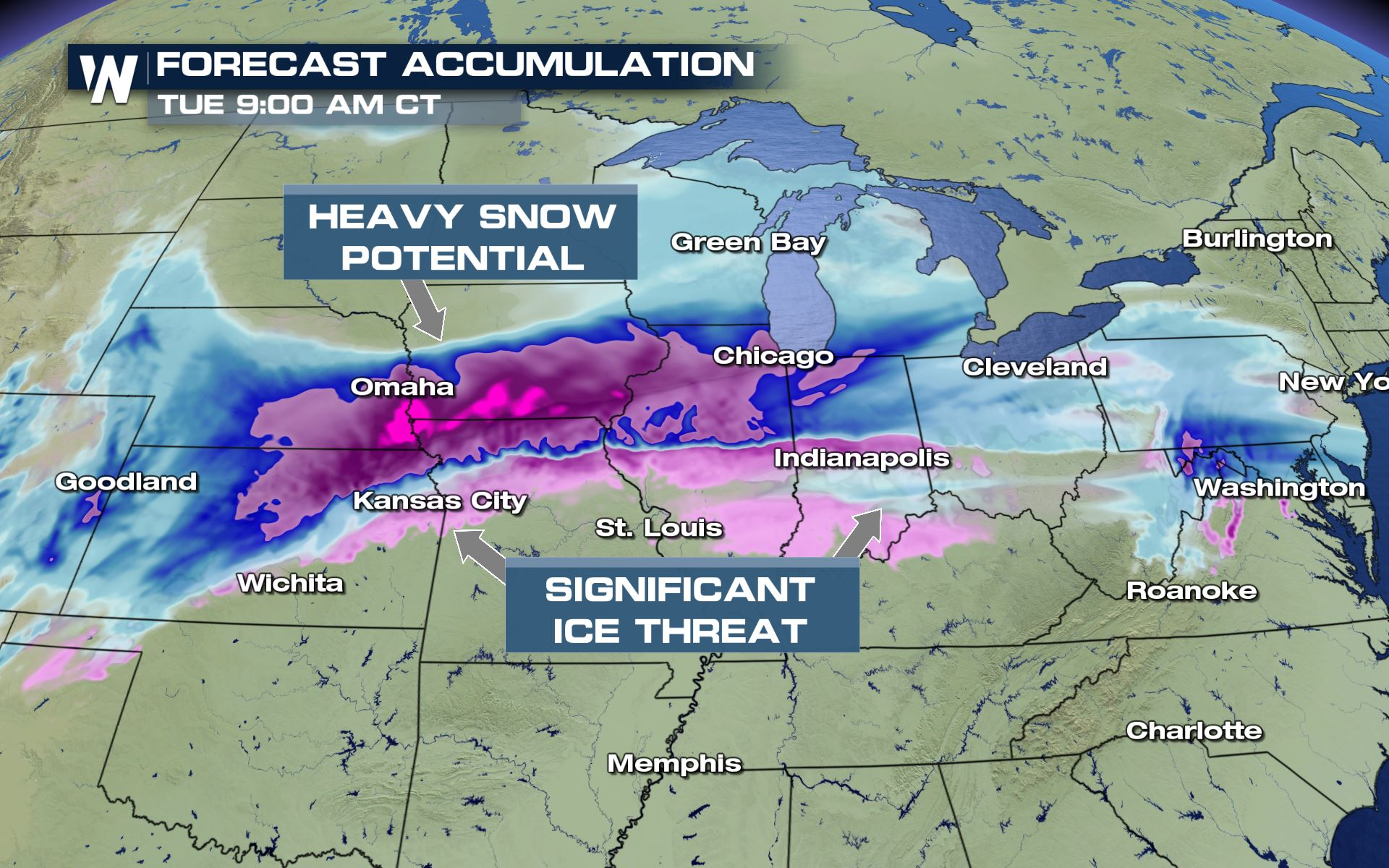 Heavy Snow and Ice Expected from the Central Plains through the Midwest