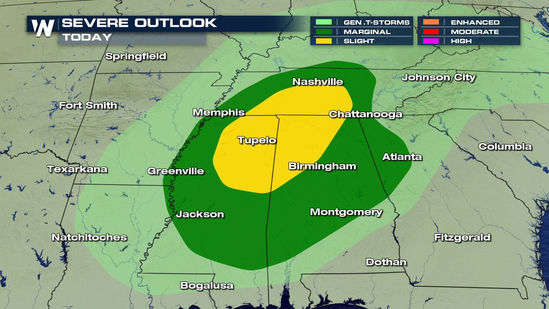 Severe Storms Into the Tennessee Valley Monday
