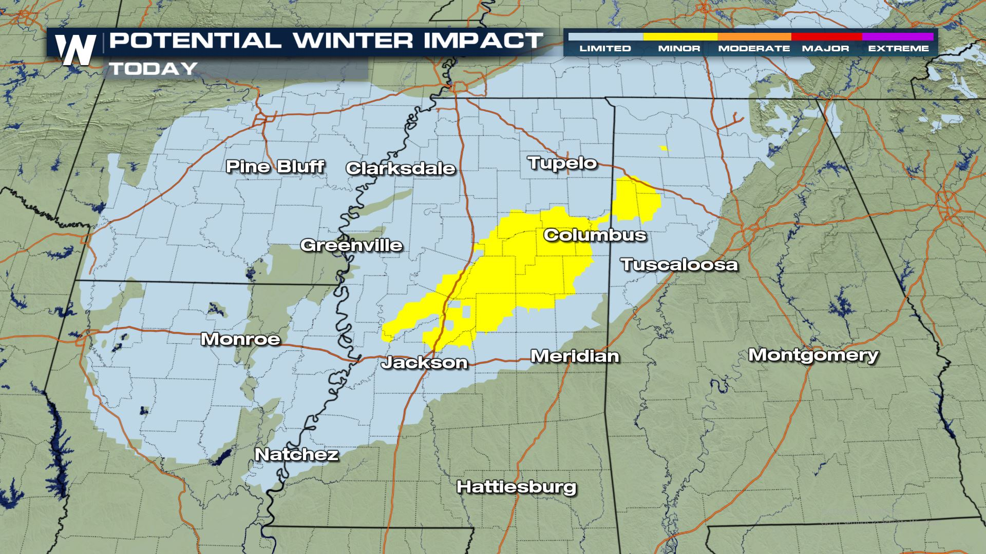 Winter Weather Chances from the Lower Mississippi Valley to the Appalachians Monday