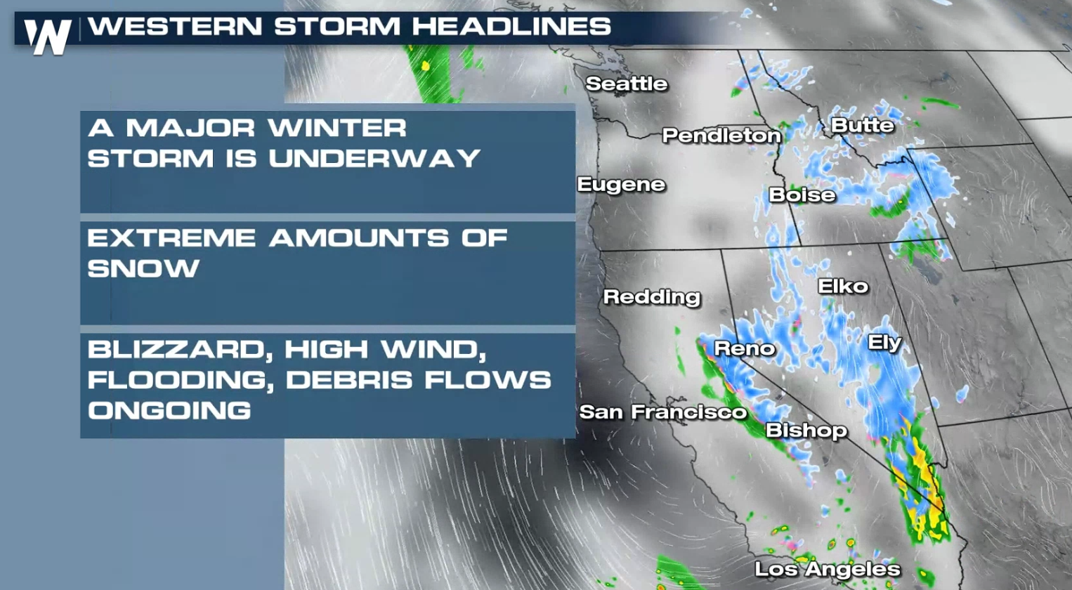 Potent Storm Hitting the West with Heavy Rain and Snow