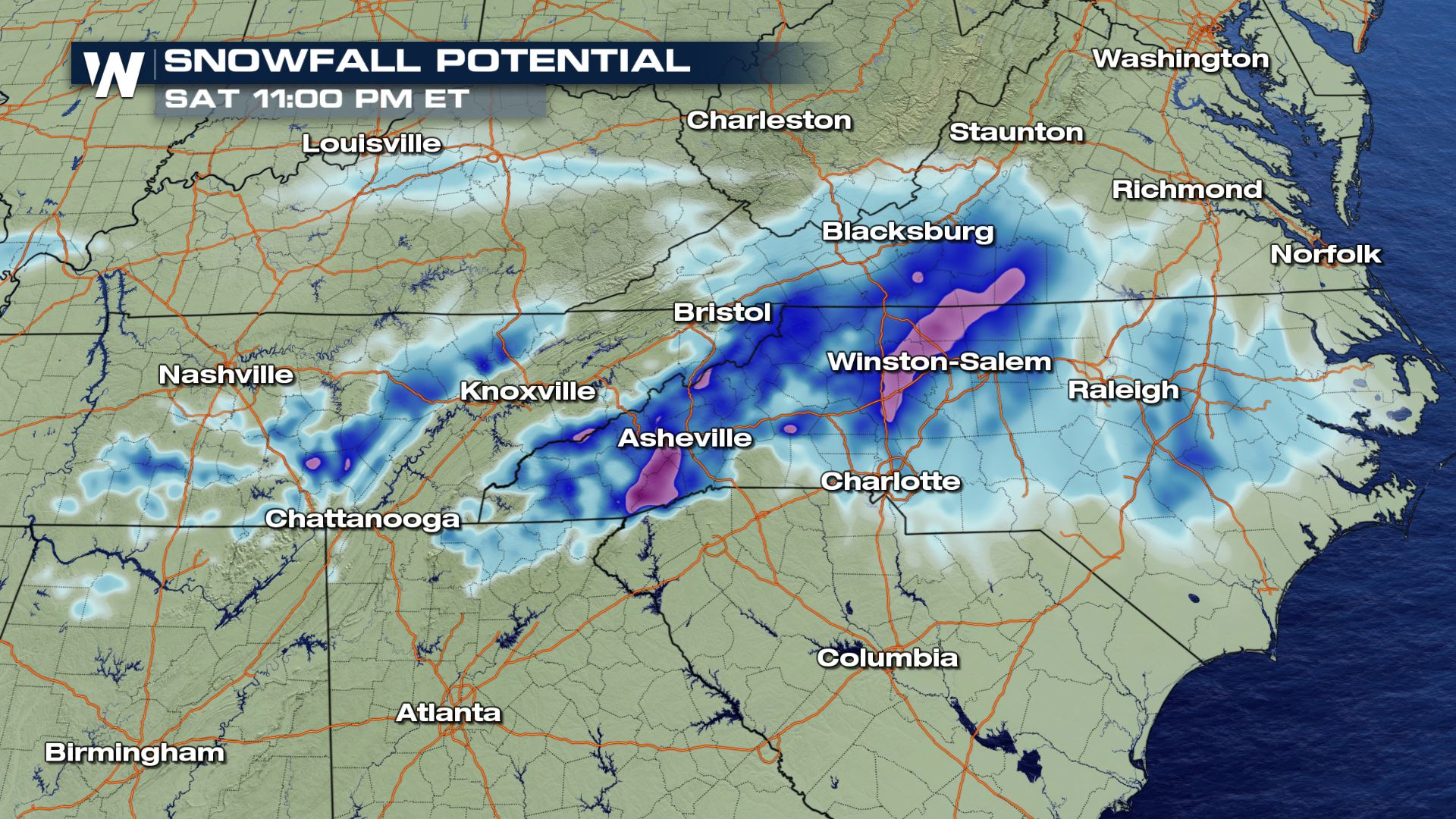 Upper Low Brings Snow to the Southeast