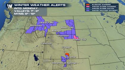 Northern Rockies/Plains Snow Tonight