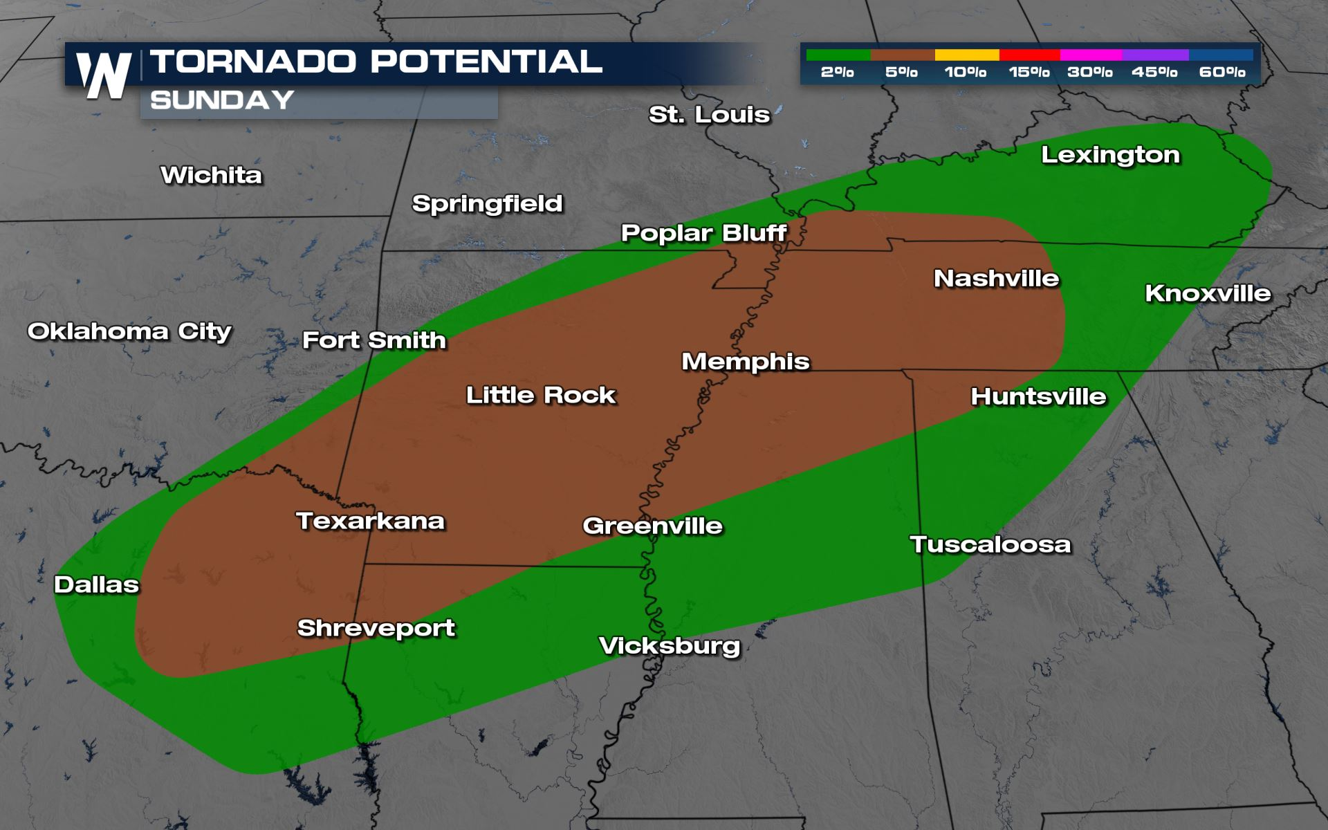 Severe Risk from Texas to Middle Tennessee on Sunday