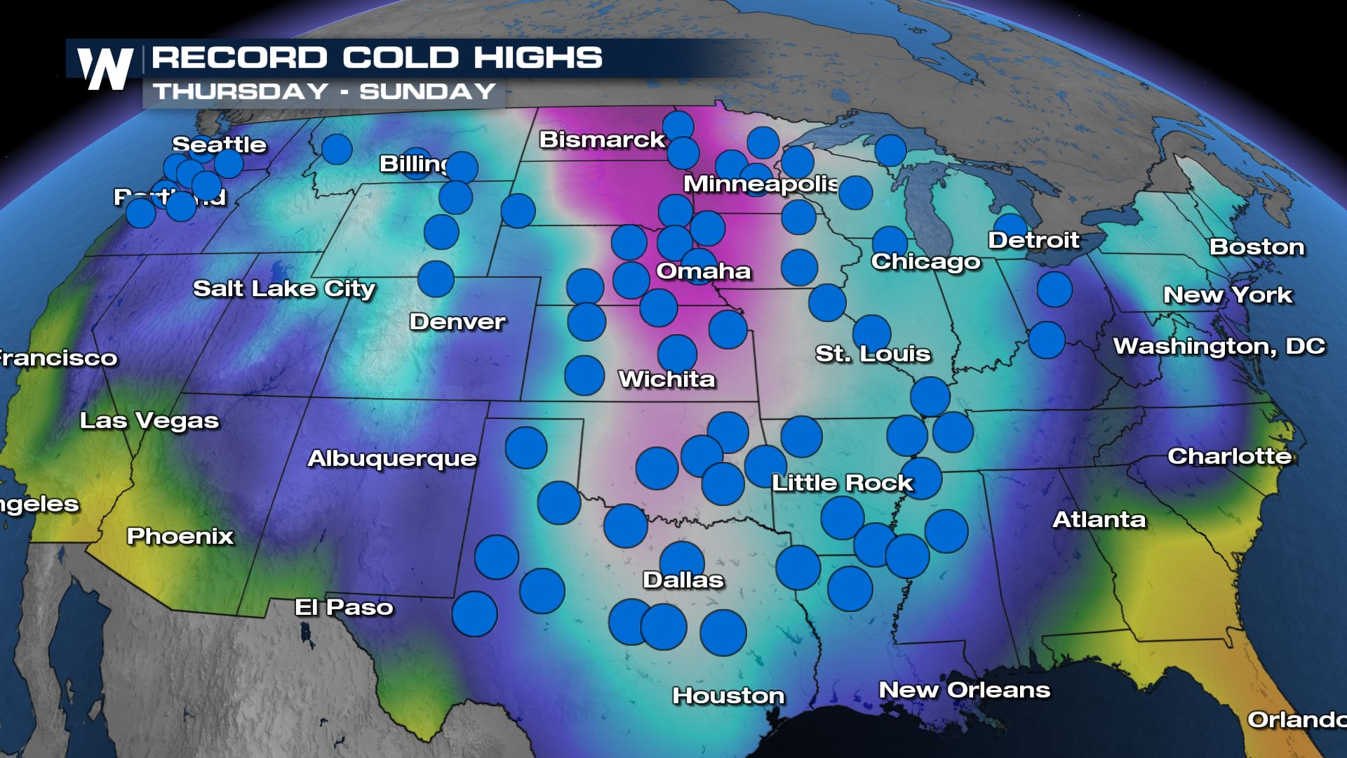 Record Cold Likely across the Southern U.S This Weekend