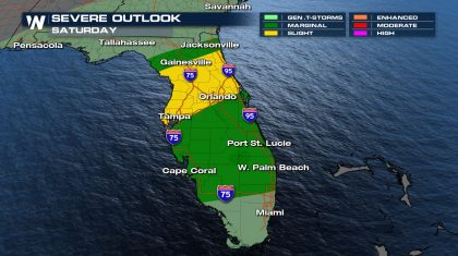 Heavy rain in the Southeast this weekend; severe storms possible in Florida
