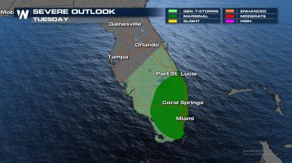 Severe Weather Risk Shifts to South Florida Tuesday
