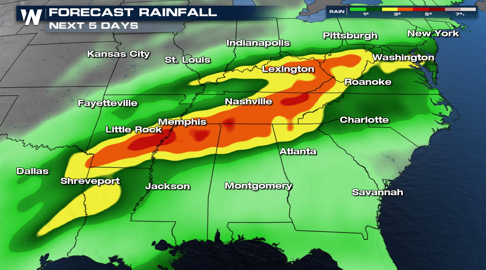 Soaking Rain Continues for the South
